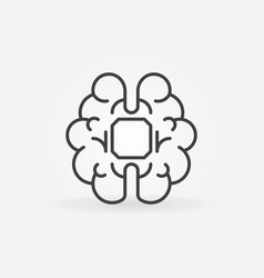 Human brain with chip linear icon ai vector