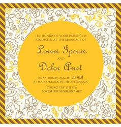 Invitation card yellow with hand drawn background vector image