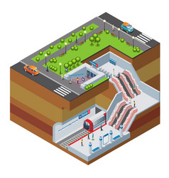 isometric metro station concept vector image
