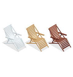 isometric wooden deck chairs lounge sun chair vector image