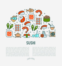 japanese food concept in half circle vector image
