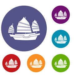 Junk boat icons set vector