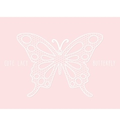 Lacy laser cutout butterfly on pastel pink vector