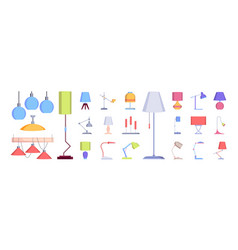 lamp collection flat interior lighting decoration vector image
