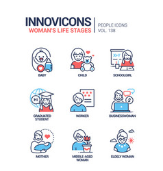 Life stages a woman - line design style icons vector