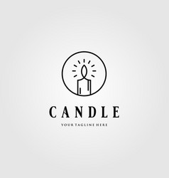 line art candle light flame logo in circle emblem vector image