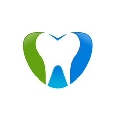 love dental care blue green symbol design vector image