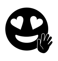 Love hand emoticon style pictogram vector