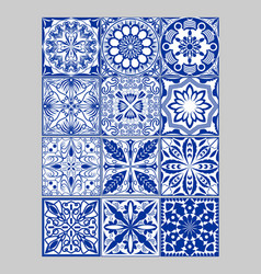 Majolica pottery tiles mega set blue and white vector
