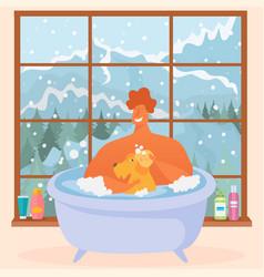 Man bathes his dog bathtub water white fragrant vector