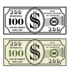 Money banknote two style black and colored vector