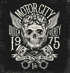 Motorcycle skull with helmet vector