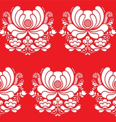 Norwegian folk art seamless white pattern on red vector image