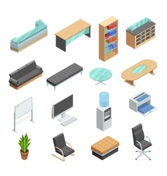 Office furniture isometric icons set vector