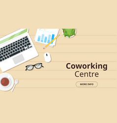 office workplace top view vector image