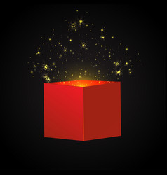 Open red gift box and confetti christmas vector
