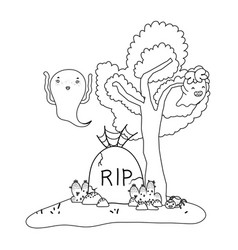 Outline funny ghost with rip stone and spider vector