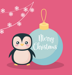 penguin with ball of christmas vector image
