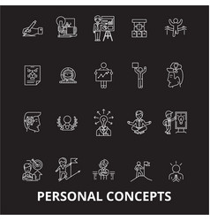 personal concepts editable line icons set vector image