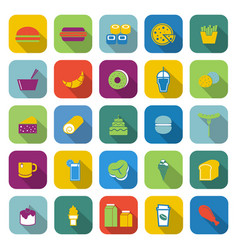 Popular food color icons with long shadow vector