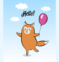 postcard smiling cartoon joyful fox with balloon vector image
