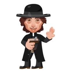 Preacher in Wild West cartoon character vector image