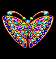 precious brooch in the form of a butterfly with vector image