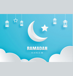 Ramadan kareem greeting card moon and stars vector