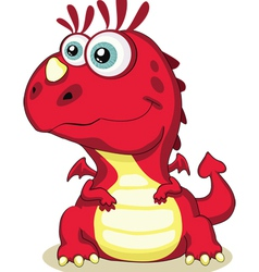 red cartoon dragon isolated eps 8 5000x6215 vector image
