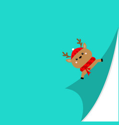 Reindeer deer face holding fold page corners red vector