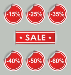 Sale stickers and tags with discounts vector