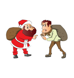 Santa and burglar with sacks on their back vector