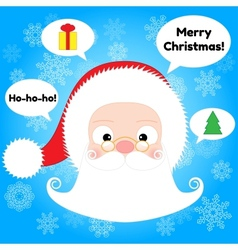 Santa Claus Head and Speech Bubbles vector image