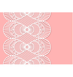 seamless decorative lace border on pink background vector image