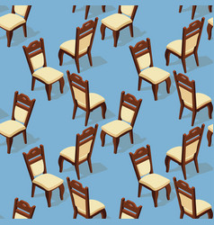 seamless pattern of isometric cartoon chair front vector image