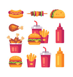 set flat fast food icons burger fries chicken vector image