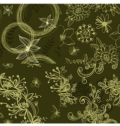 set green floral seamless patterns vector image