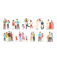 set happy traditional heterosexual families vector image