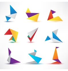 set of abstract colorful origami icons logos vector image