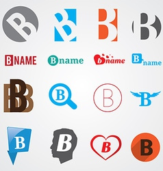Set of alphabet symbols of letter B vector image