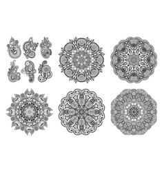 set of circle lace ornament round ornamental vector image