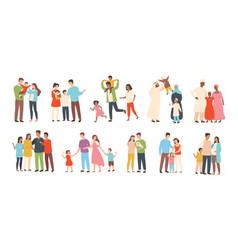set of happy traditional heterosexual families vector image