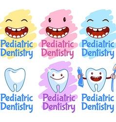 Set of logos for pediatric dentistry vector