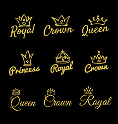 sketch queen crowns and hand drawn princess diadem vector image