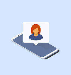 smartphone and push notification with woman vector image