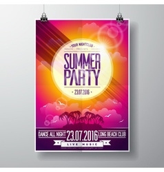 Summer Beach Party Flyer Design with palms vector image