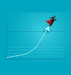 superhero businessman taking graphic chart up vector image