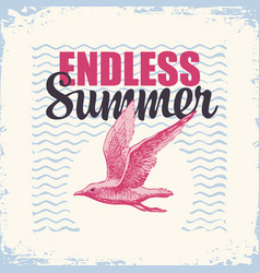 travel banner with gull and sun endless summer vector image