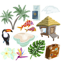 travel on island set with palm trees bungalow vector image