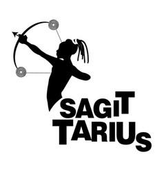 Tribal zodiac sagittarius man with bow and arrow vector